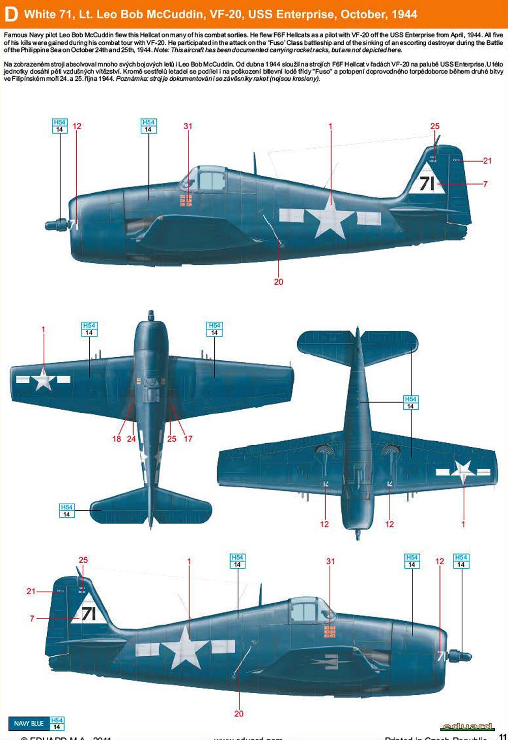 Grumman F6F 5 Hellcat VF 20 White 71 Leo Bob McCuddin CV 6 USS Enterprise Oct 1944 0A