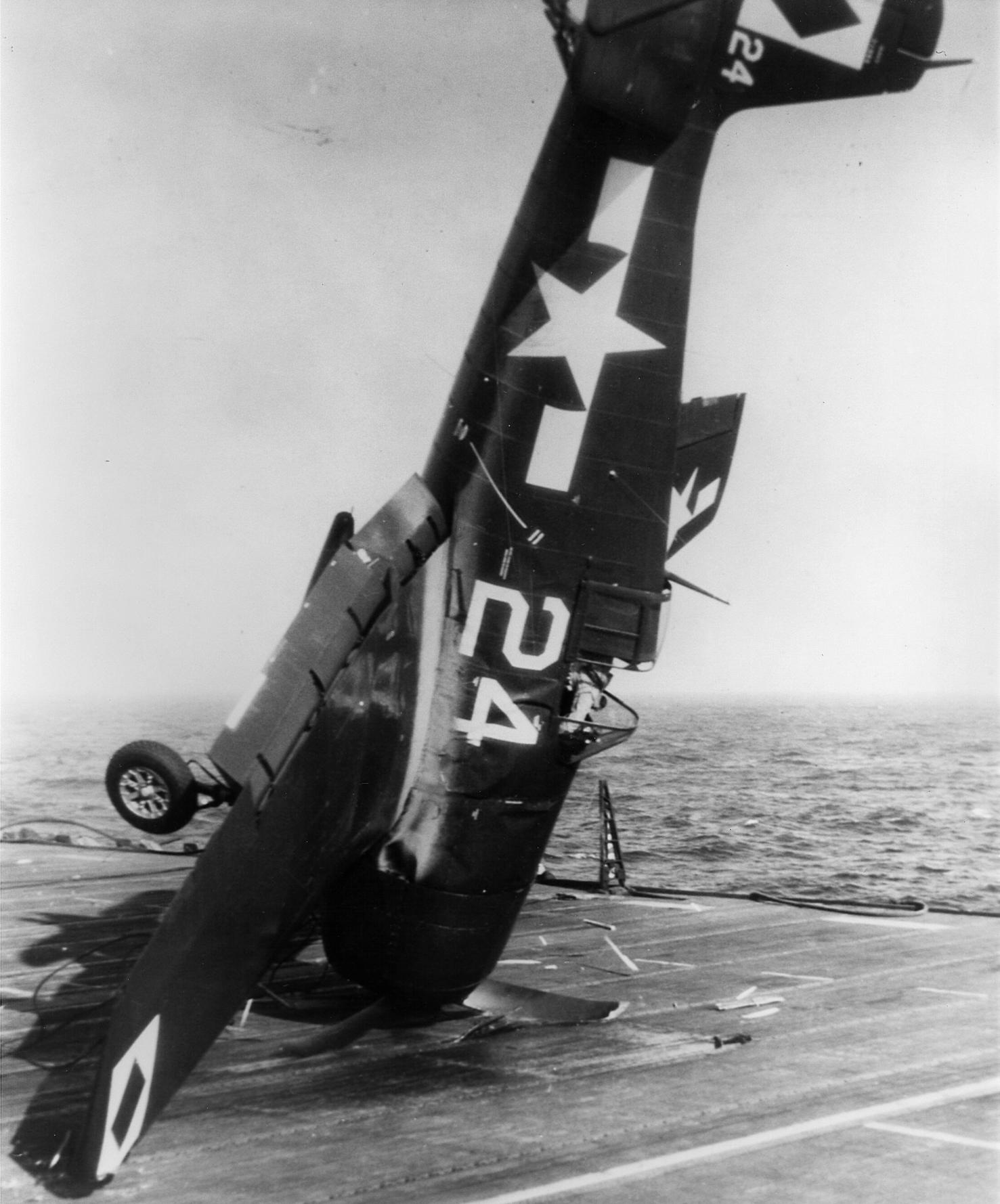 Grumman F6F 5 Hellcat VF 23 White 24 landing mishap CVL 27 USS Langley 1945 03