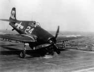 Asisbiz Grumman F6F 5 Hellcat VF 23 White 24 landing mishap CVL 27 USS Langley 1945 01