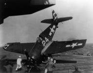 Asisbiz Grumman F6F 5 Hellcat VF 23 White 24 landing mishap CVL 27 USS Langley 1945 02