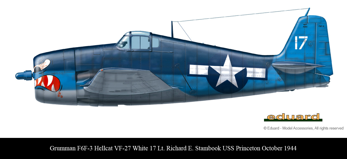 Grumman F6F 3 Hellcat VF 27 White 17 Lt Richard E Stambook CVL 23 USS Princeton Oct 1944 0B