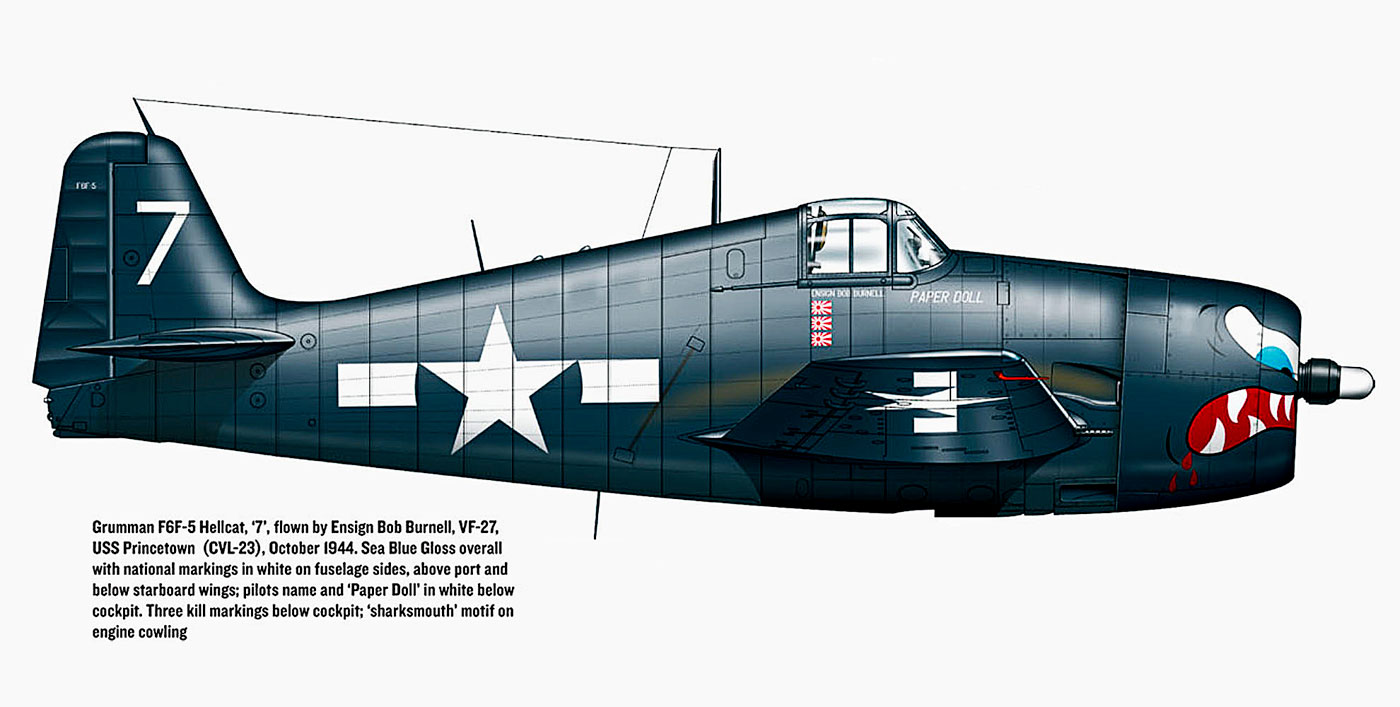 Grumman F6F 5 Hellcat VF 27 White 7 Paper Doll Lt Carl A Brown CVL 23 USS Princeton Oct 24th 1944 0A