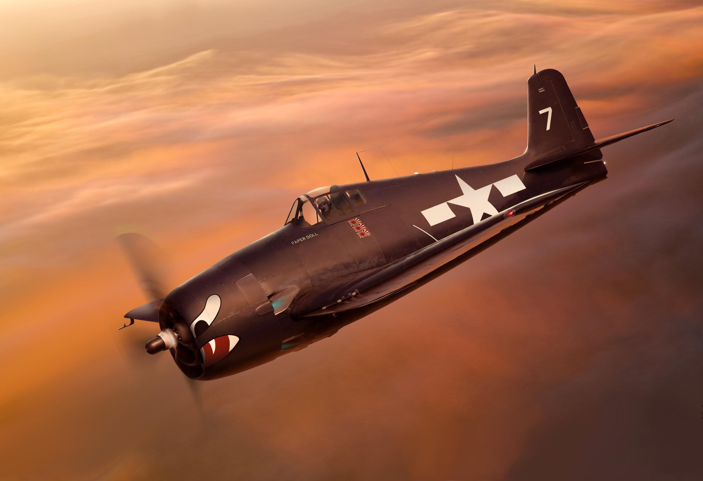 Grumman F6F 5 Hellcat VF 27 White 7 Paper Doll Lt Carl A Brown CVL 23 USS Princeton Oct 24th 1944 0F