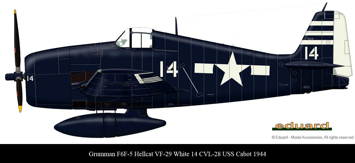 Grumman F6F 5 Hellcat VF 29 White 14 aboard CVL 28 USS Cabot 1945 0A