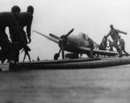 Asisbiz Grumman F6F 5 Hellcat VBF 3 White 12 landing with only one wheel gear down CV 10 USS Yorktown 1945 01