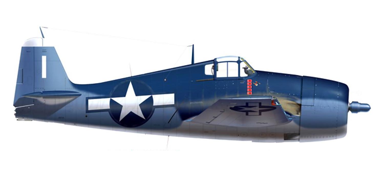 Grumman F6F 3 Hellcat VF 32 White 1 Cdr Edward C Outlaw BuNo 41626 CVL 27 USS Langley April 1944 0A