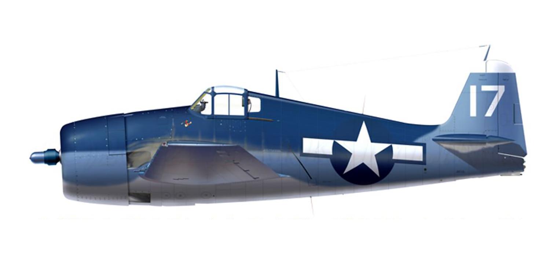 Grumman F6F 3 Hellcat VF 32 White 17 Ens Brian E Phillion BuNo 42039 CVL 27 USS Langley 30th Aug 1944 0A