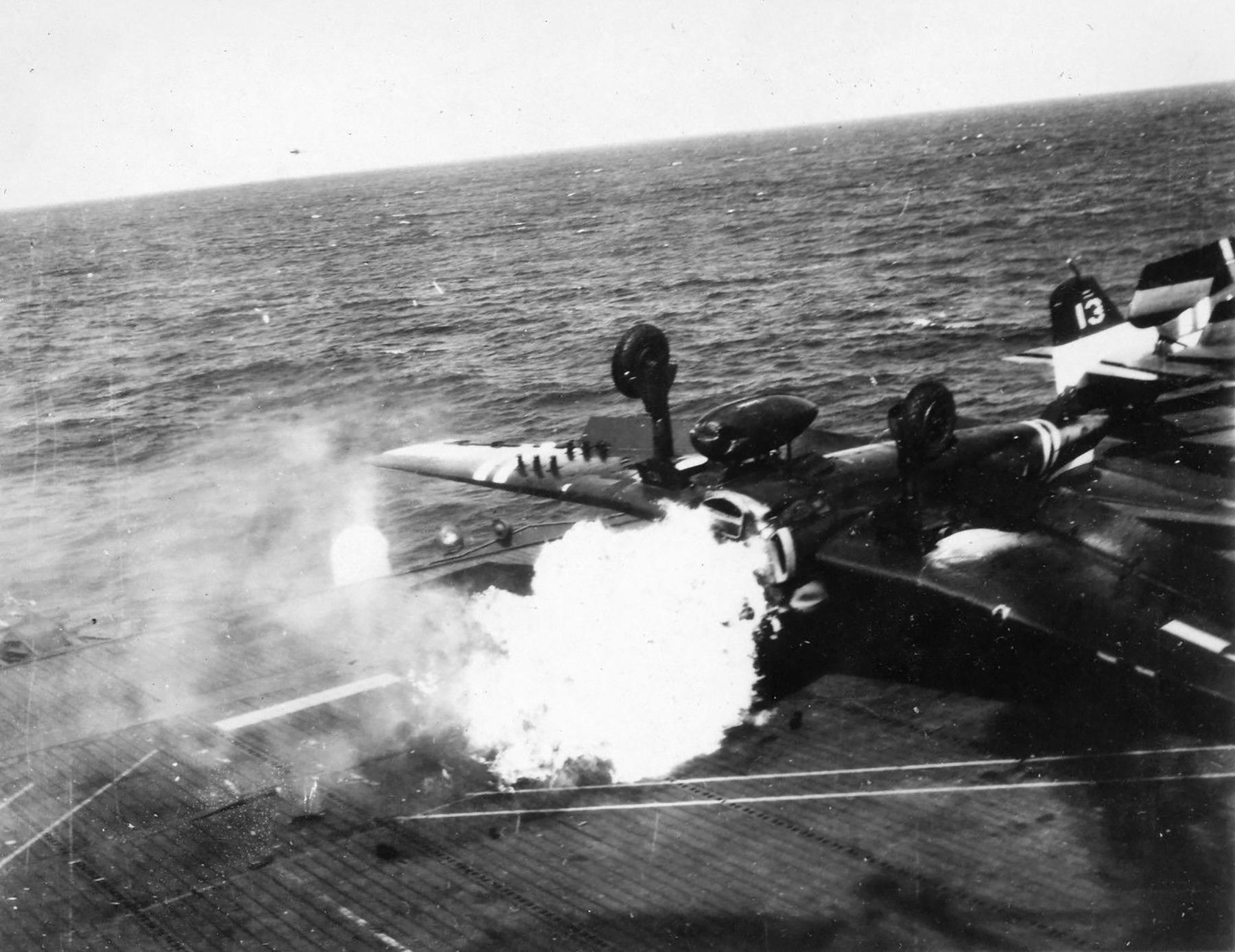 Grumman F6F 5 Hellcat VF 36 White 10 landing mishap CVE 112 USS Siboney Aug 1945 May 1946 03