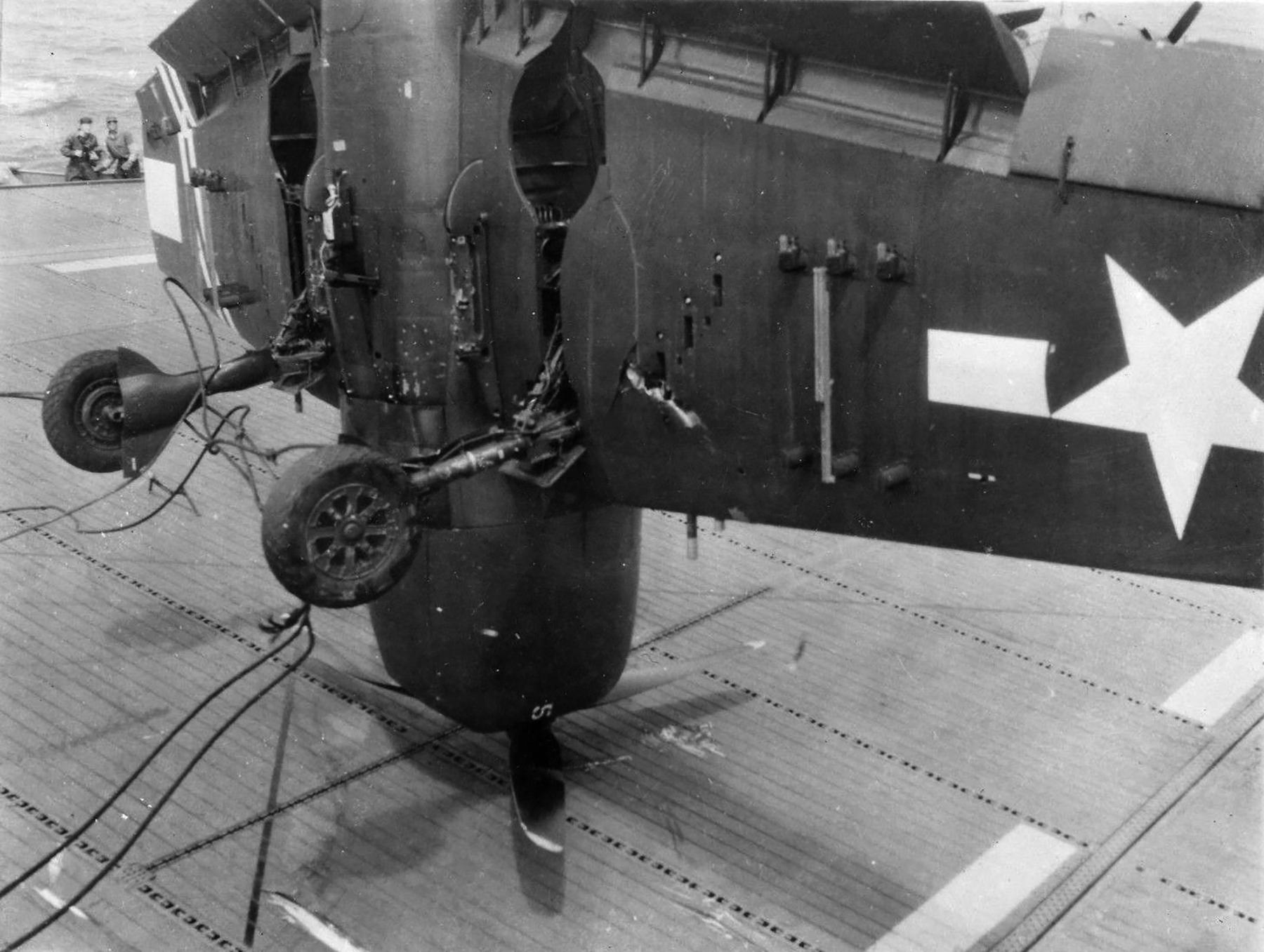 Grumman F6F 5 Hellcat VF 36 White 5 landing mishap CVE 112 USS Siboney Aug 1945 May 1946 04