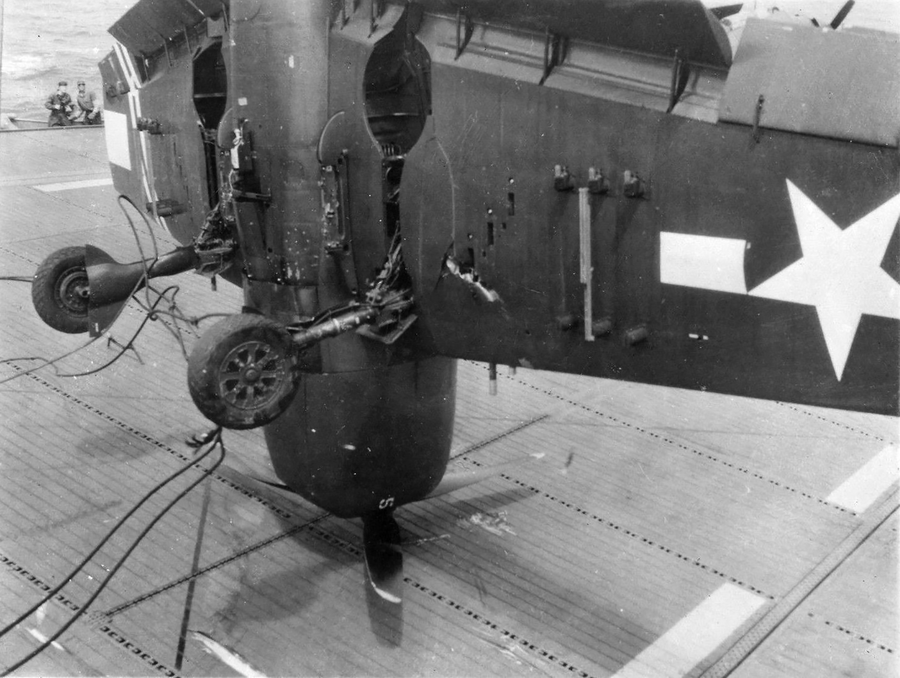 Grumman F6F 5 Hellcat VF 36 White 5 landing mishap CVE 112 USS Siboney Aug 1945 May 1946 05