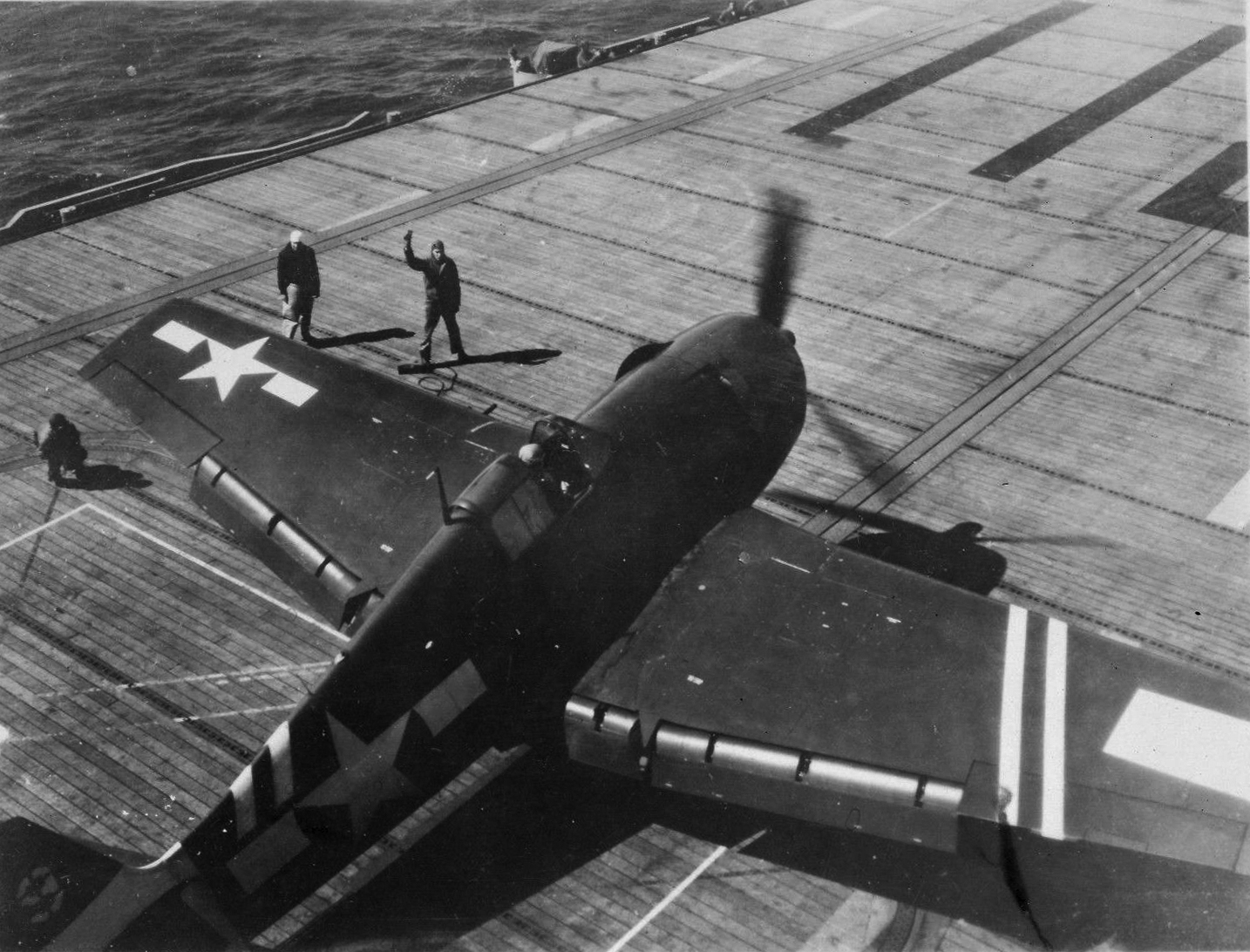 Grumman F6F 5 Hellcat VF 36 White 9 pre launch CVE 112 USS Siboney Aug 1945 May 1946 01