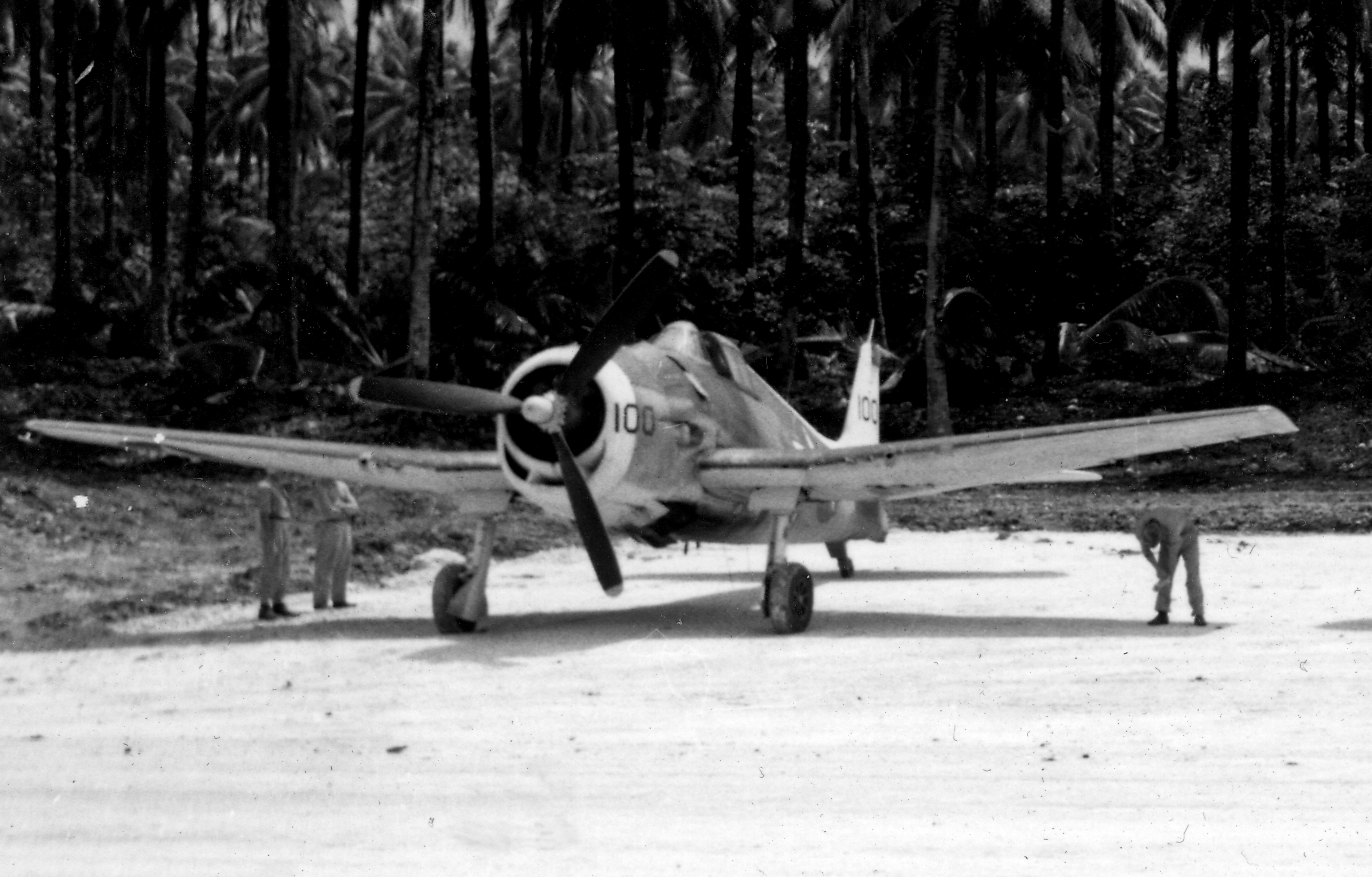 Grumman F6F 3P Hellcat VF 38 Black 100 at Green Island New Georgia 1944 01