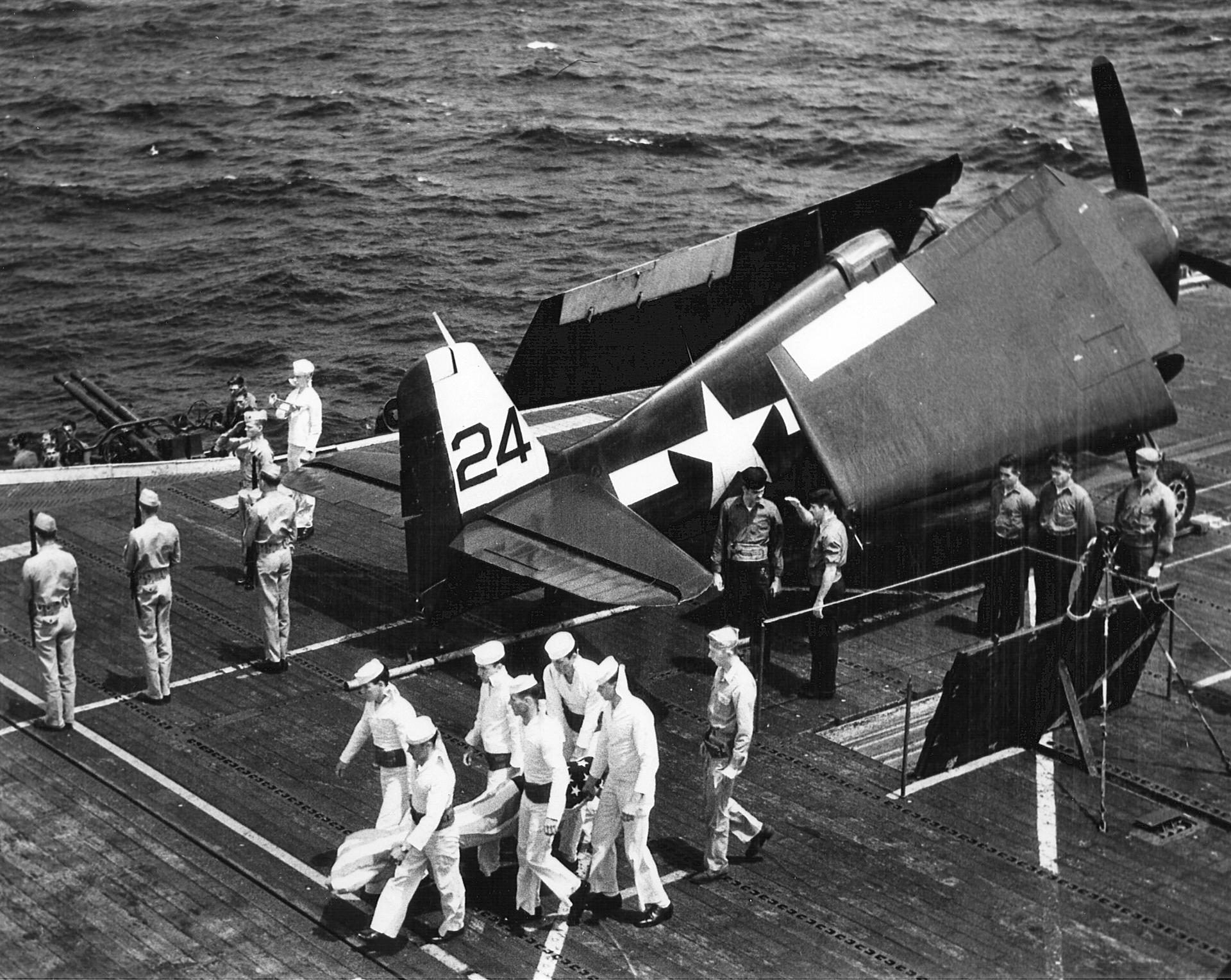 Grumman F6F 5 Hellcat VF 47 Black 24 during an honor guard CVL 29 USS Bataan 01