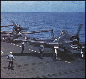 Grumman F6F 3 Hellcat VF 5 White 12 preparing for launch CV 10 USS Yorktown 01