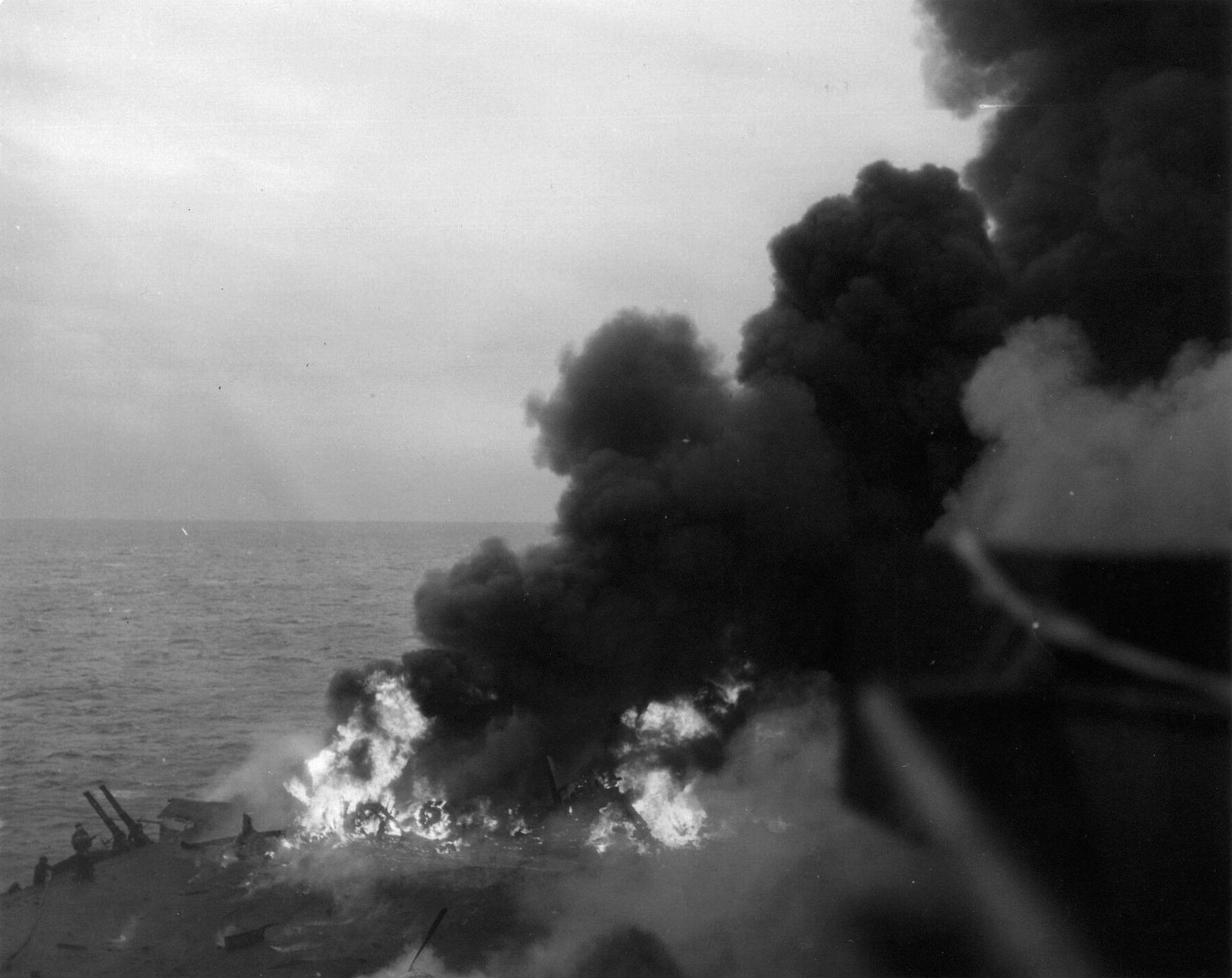 Grumman F6F 5 Hellcat VF 53 White 59 during kamikaze attack CV 3 USS Saratoga 21st Feb 1945 05
