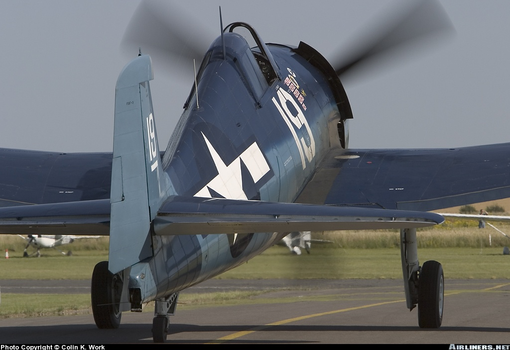 Airworthy warbird Gumman F6F Hellcat BuNo 80141 G BTCC showing VF 6 White 19 Alexander Vraciu markings 14
