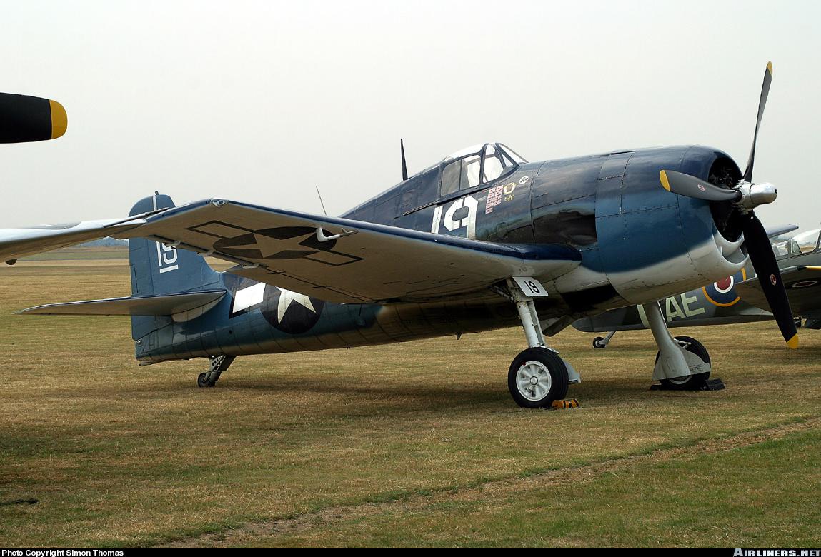 Airworthy warbird Gumman F6F Hellcat BuNo 80141 G BTCC showing VF 6 White 19 Alexander Vraciu markings 17