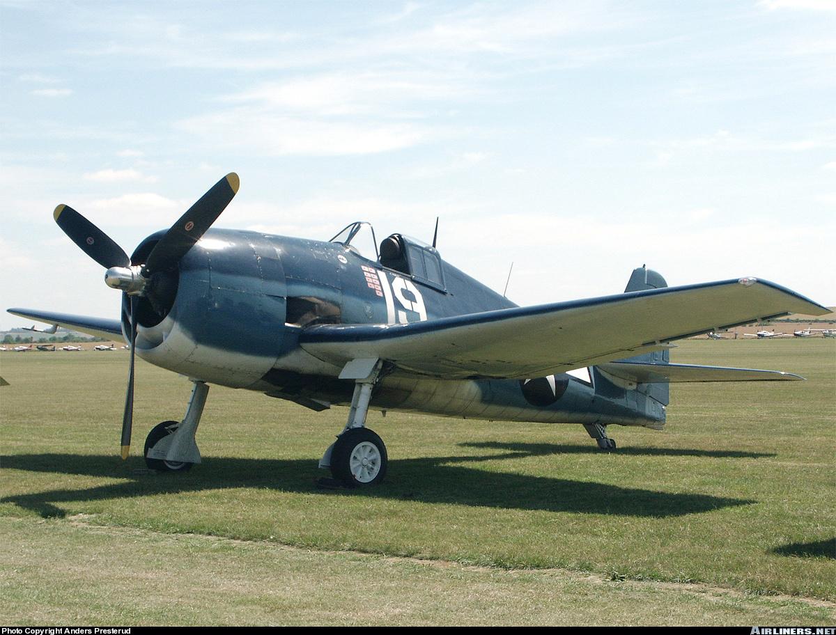 Airworthy warbird Gumman F6F Hellcat BuNo 80141 G BTCC showing VF 6 White 19 Alexander Vraciu markings 19