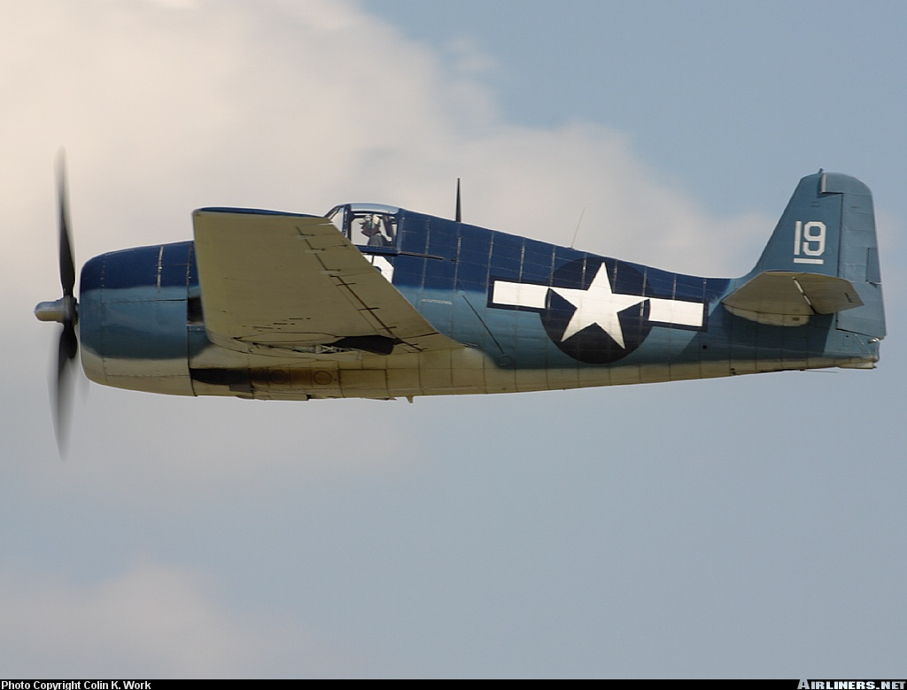 Airworthy warbird Gumman F6F Hellcat BuNo 80141 G BTCC showing VF 6 White 19 Alexander Vraciu markings 23