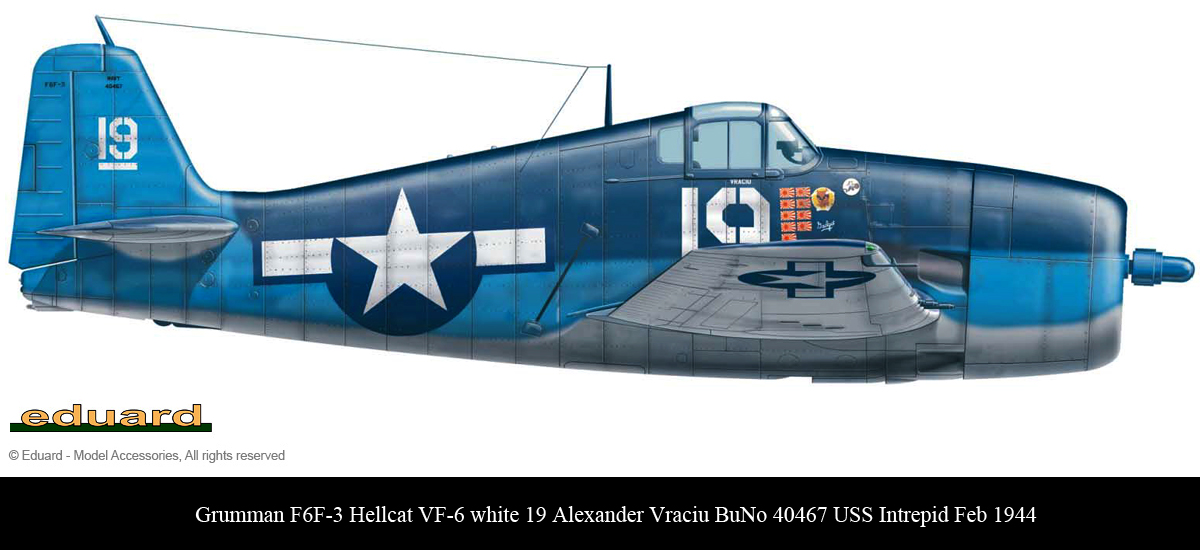 Grumman F6F 3 Hellcat VF 6 White 19 Alexander Vraciu BuNo 40467 USS Intrepid Feb 1944 0B