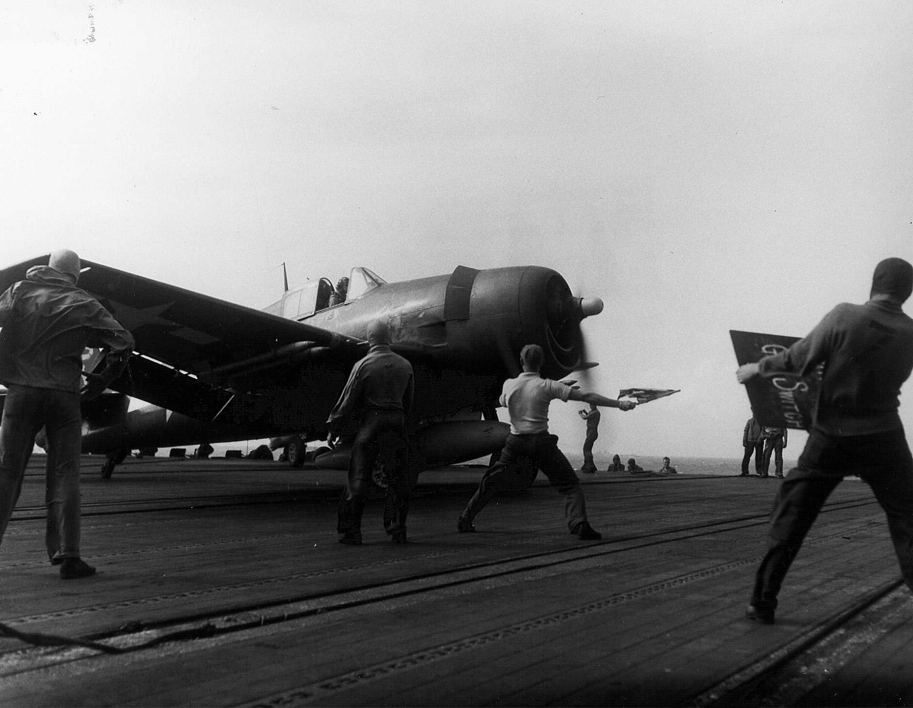 Grumman F6F 3 Hellcat VF 6 being launched to strike French Indochina CV 19 USS Hancock 1944 01