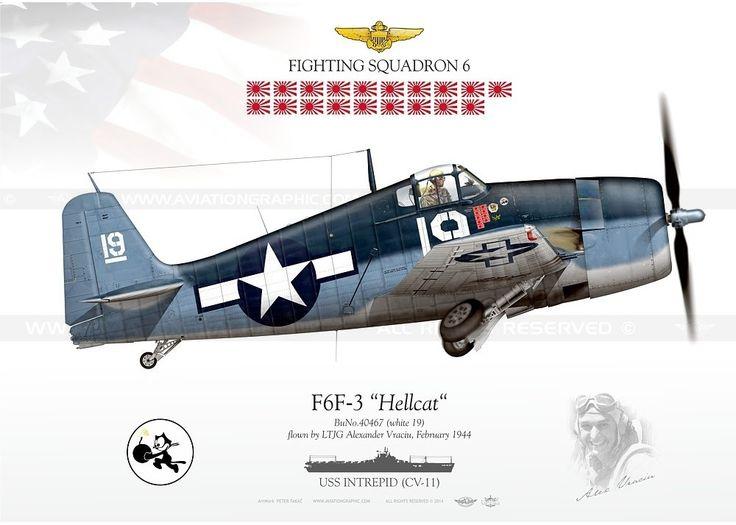 Grumman F6F 3 Hellcat VF 6 white 19 Alexander Vraciu BuNo 40467 USS Intrepid Feb 1944 0D