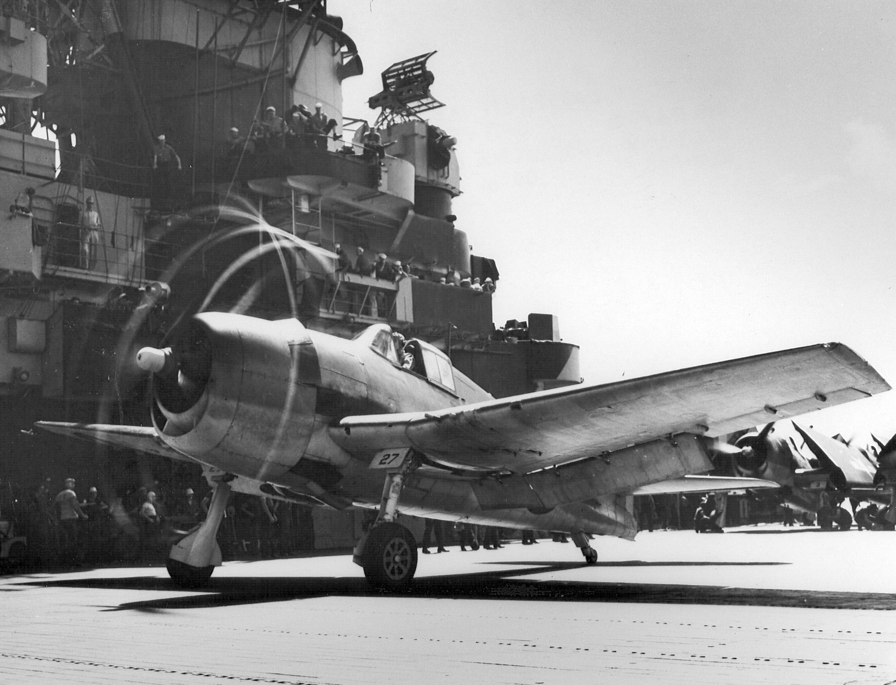 Grumman F6F 5 Hellcat VF 6 White 27 landing aboard CV 19 USS Hancock 1944 01