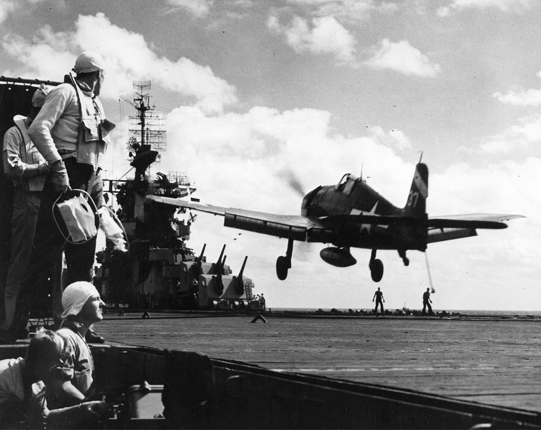 Grumman F6F 5 Hellcat VF 6 White 37 landing aboard CV 19 USS Hancock 01