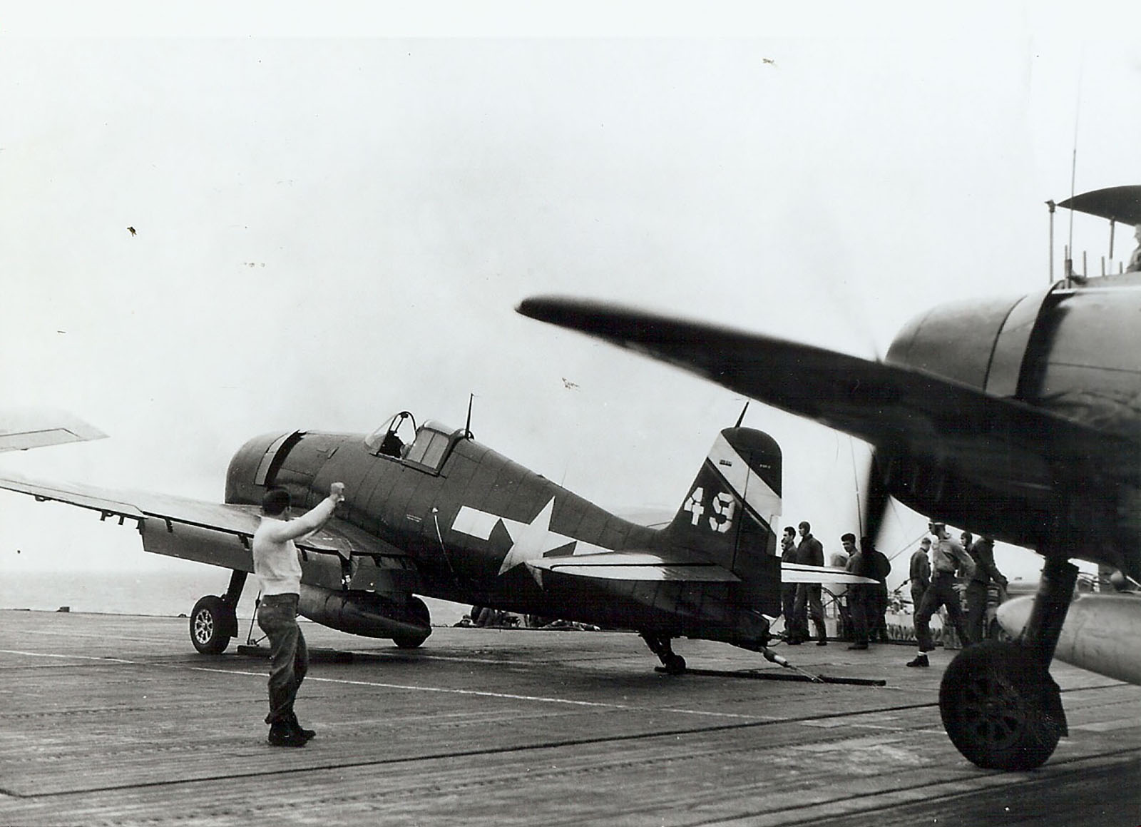Grumman F6F 5 Hellcat VF 6 White 49 about to be catapulted from USS Suwannee 20th April 1945 01