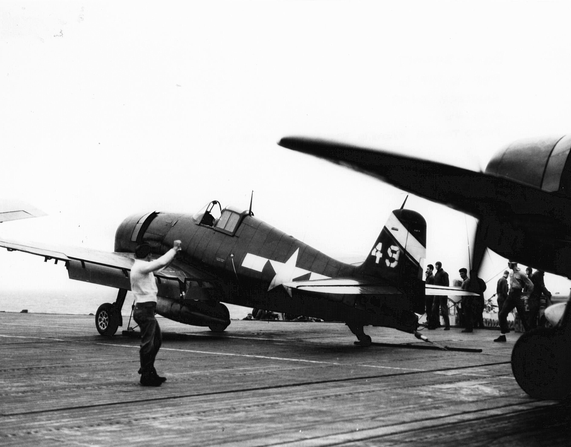 Grumman F6F 5 Hellcat VF 6 White 49 about to be catapulted from USS Suwannee 20th April 1945 02