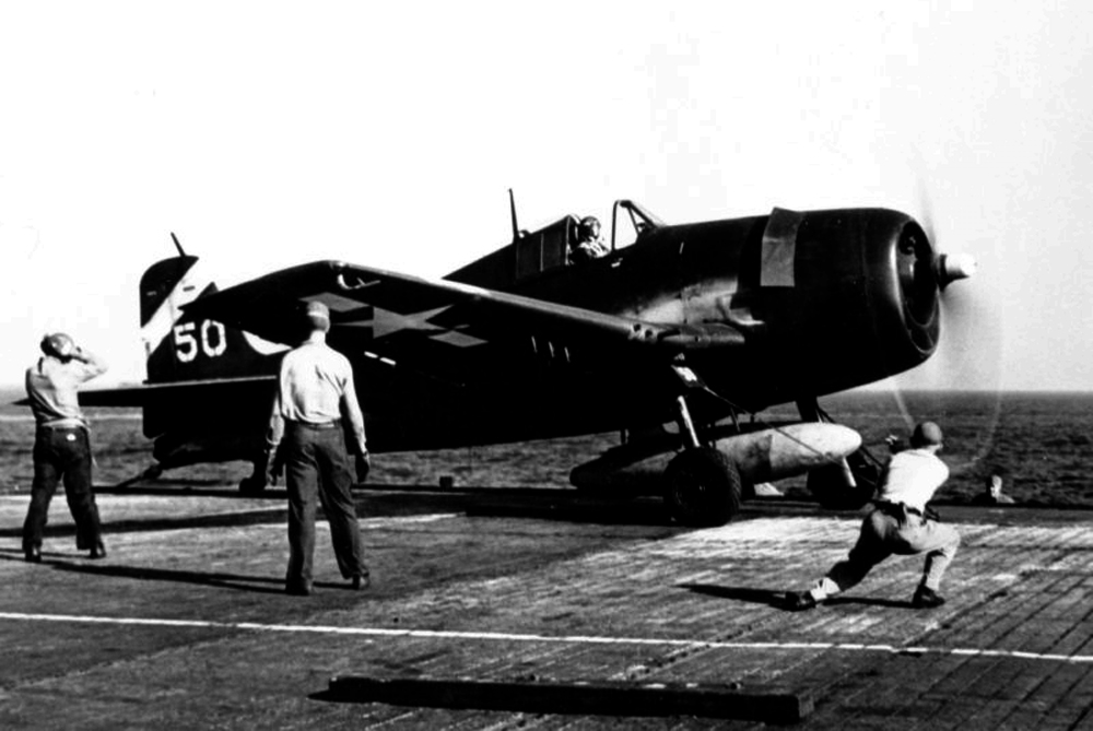 Grumman F6F 5 Hellcat VF 6 White 50 about to be catapulted from USS Suwannee April 1945 01