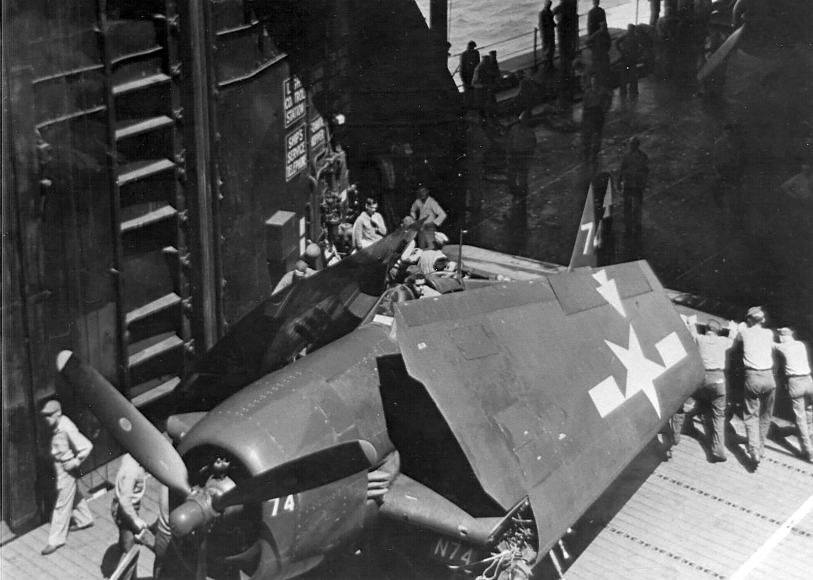 Grumman F6F 5 Hellcat VF 82 White 74 aboard CV 20 USS Bennington 1944 01
