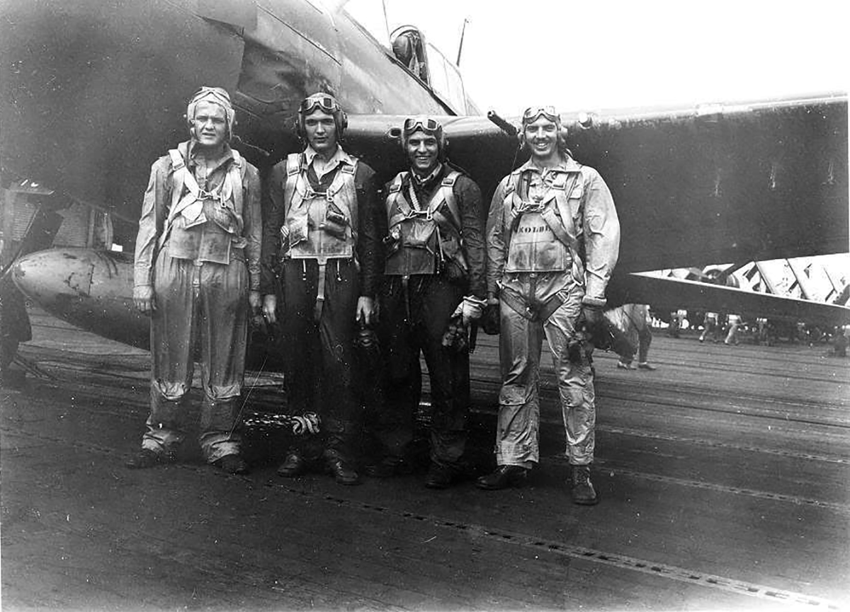 Aircrew USN VF 83 pilots aboard CV 9 USS Essex 02