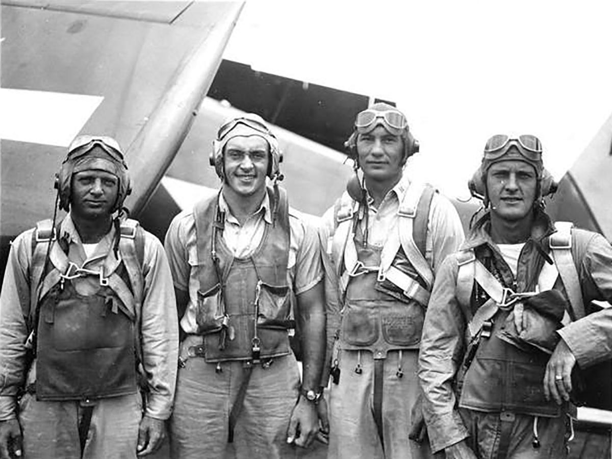 Aircrew USN VF 83 pilots aboard CV 9 USS Essex 03