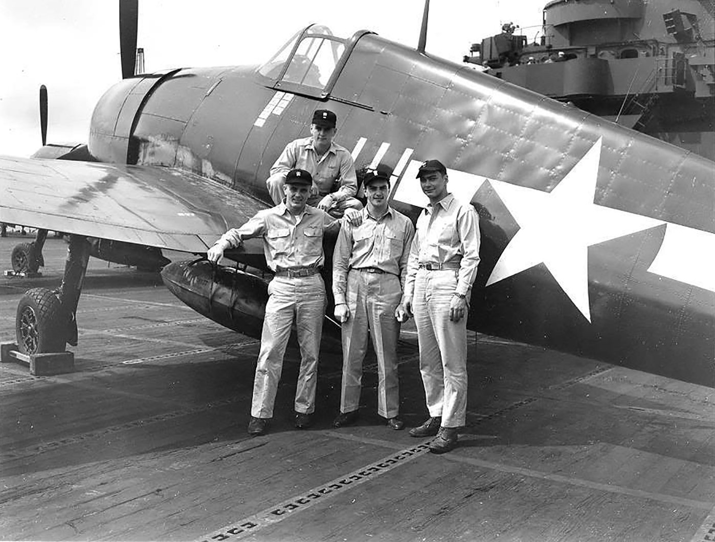 Aircrew USN ace LtCdr Thaddeus T Coleman Jr VF 6 and VF 83 standing left ended the war with 10 aerial victories 02