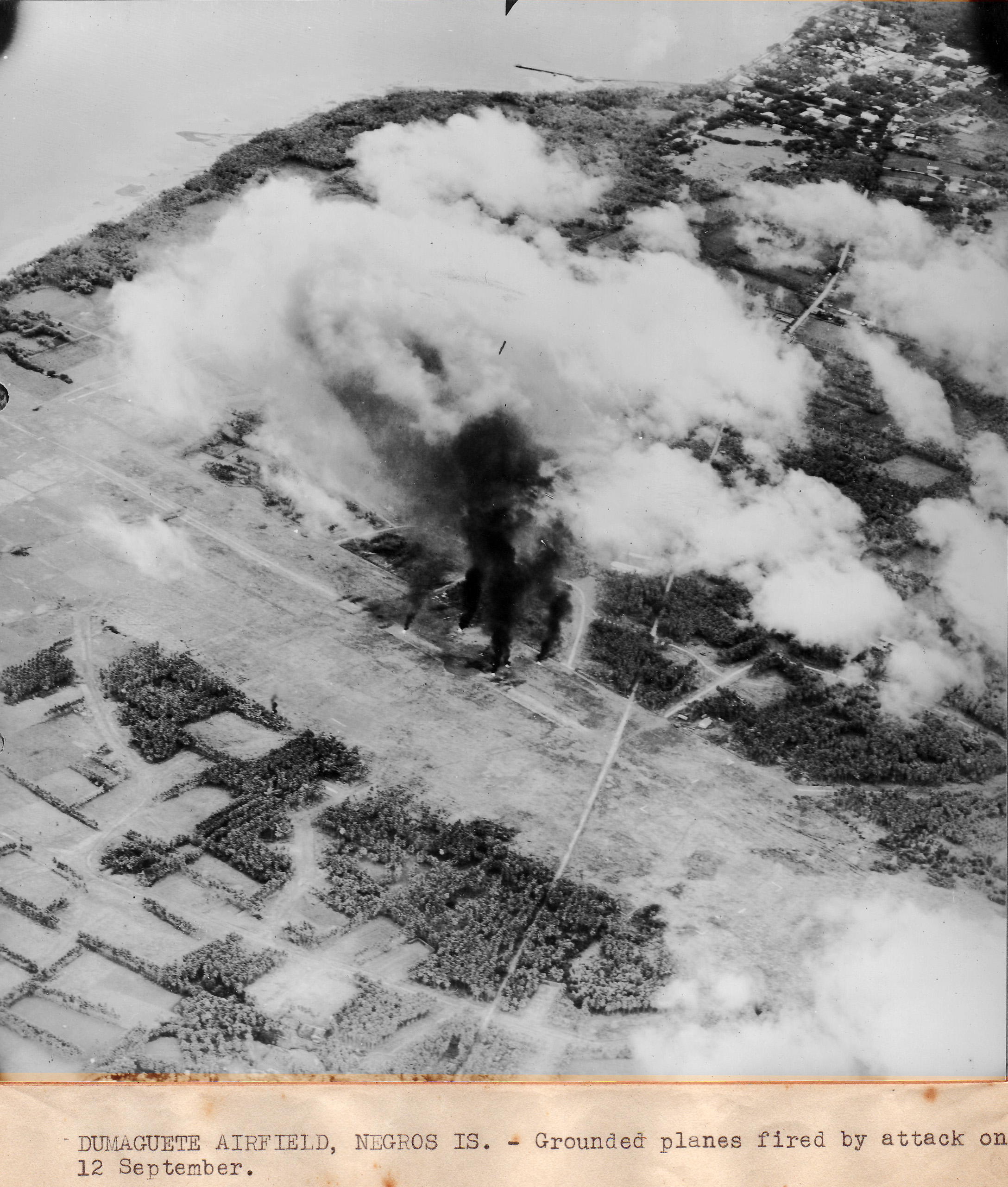 CV 9 USS Essex aircraft attacked Dumaguete airfield to support the landings on Peleliu 12th Sep 1944 01