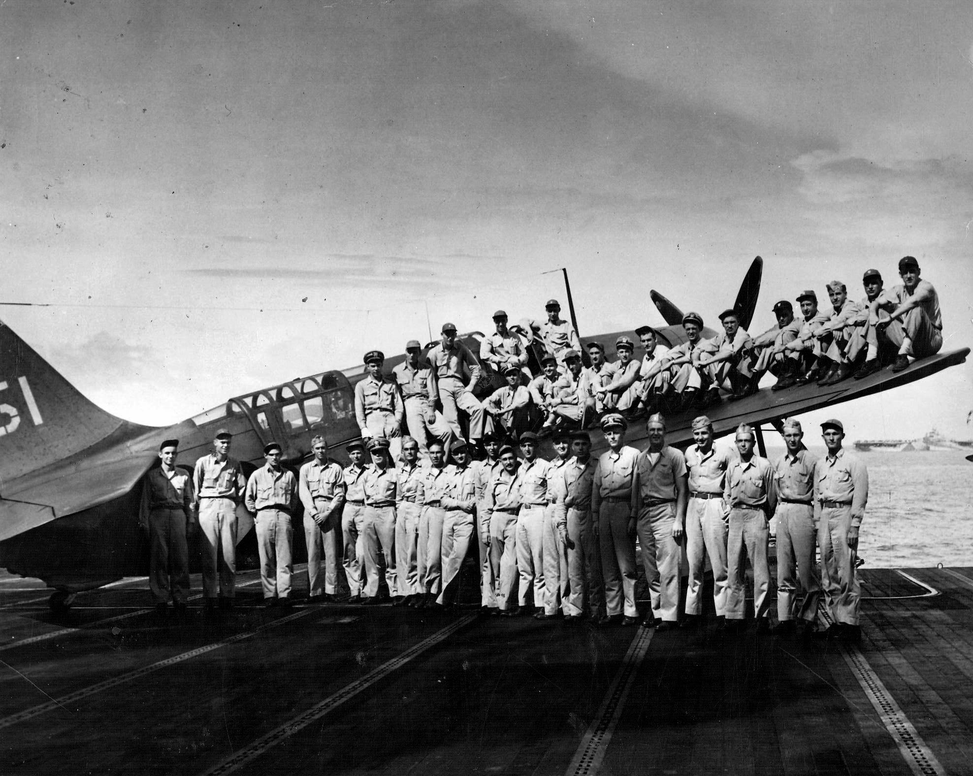 Curtiss SB2C 3 Helldiver VB 4 officers and flt crew aboard CV 6 USS Essex at Ulithi Atoll 1944 02