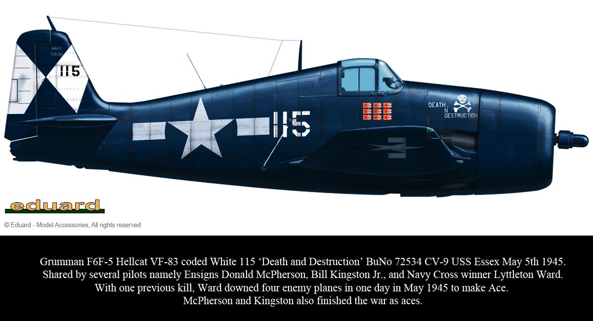 Grumman F6F 5 Hellcat VF 83 115 Death and Destruction BuNo 72534 CV 9 USS Essex May 5th 1945 0B