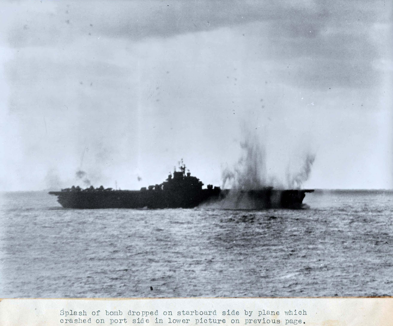 Japanese kamikaze plane taken seconds before just missing the CV 9 USS Essex 02