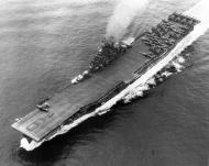 Asisbiz CV 9 USS Essex pictured underway conducting flight operations off Okinawa 1945 01