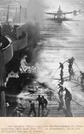 Asisbiz Fire engulfs the USS Essex flight deck after a Hellcats drop tank burst on landing 16 Dec 1944 04