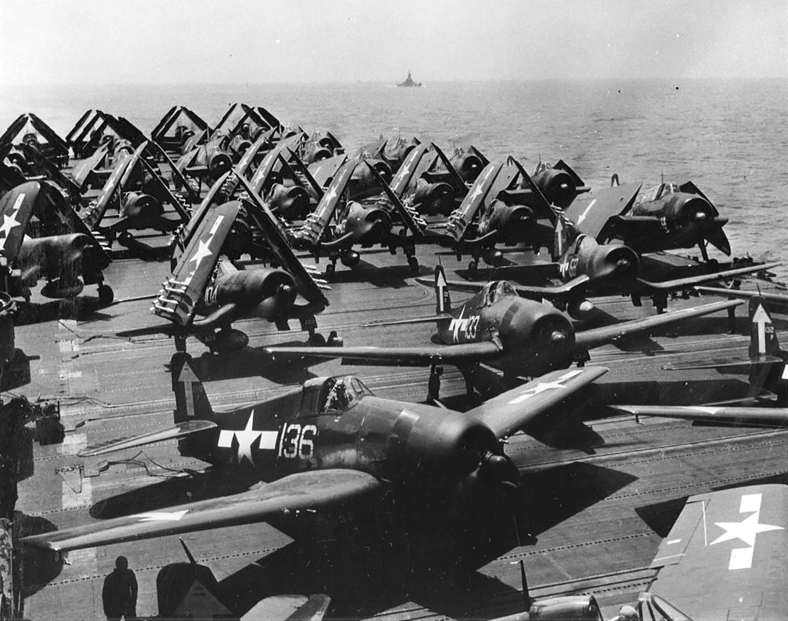 Grumman F6F 5P Hellcats VF 84 White 136 133 preparing to launch CV 17 Bunker Hill Feb 1945 01