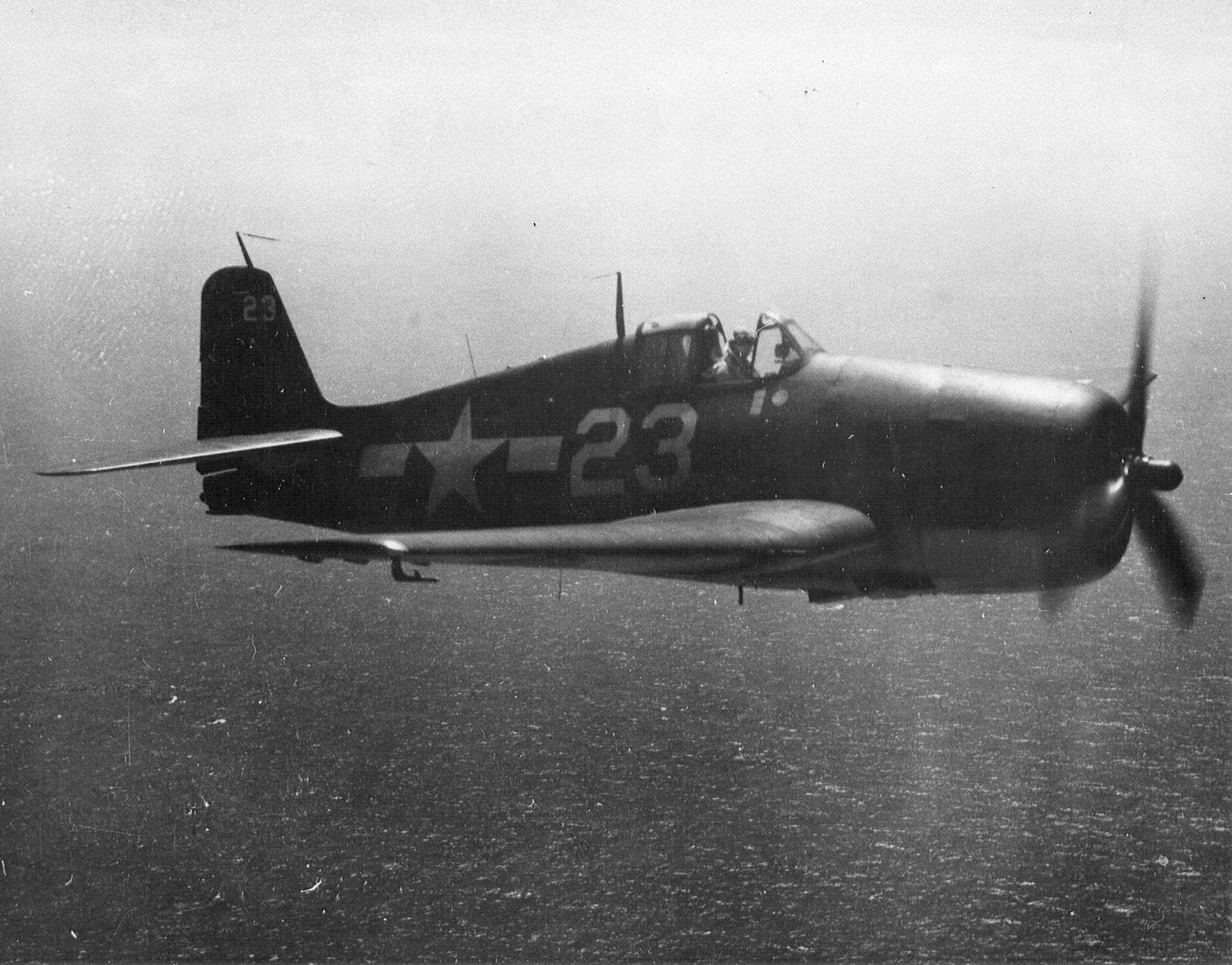 Grumman F6F 5 Hellcat VF 9 White 23 on patrol CV 16 USS Lexington 1945 01