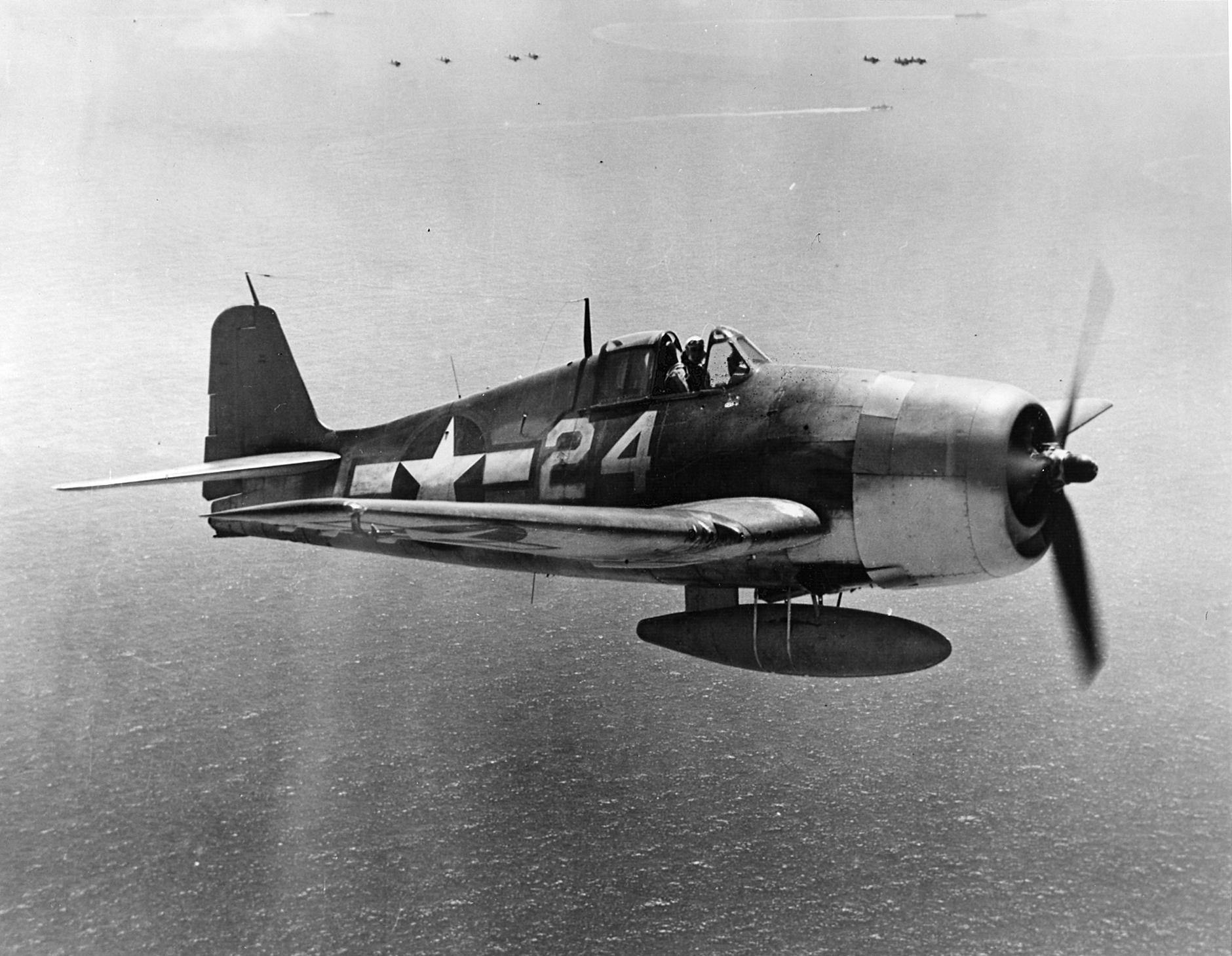Grumman F6F 5 Hellcat VF 9 White 24 Gene Valencia on patrol CV 16 USS Lexington 1945 01