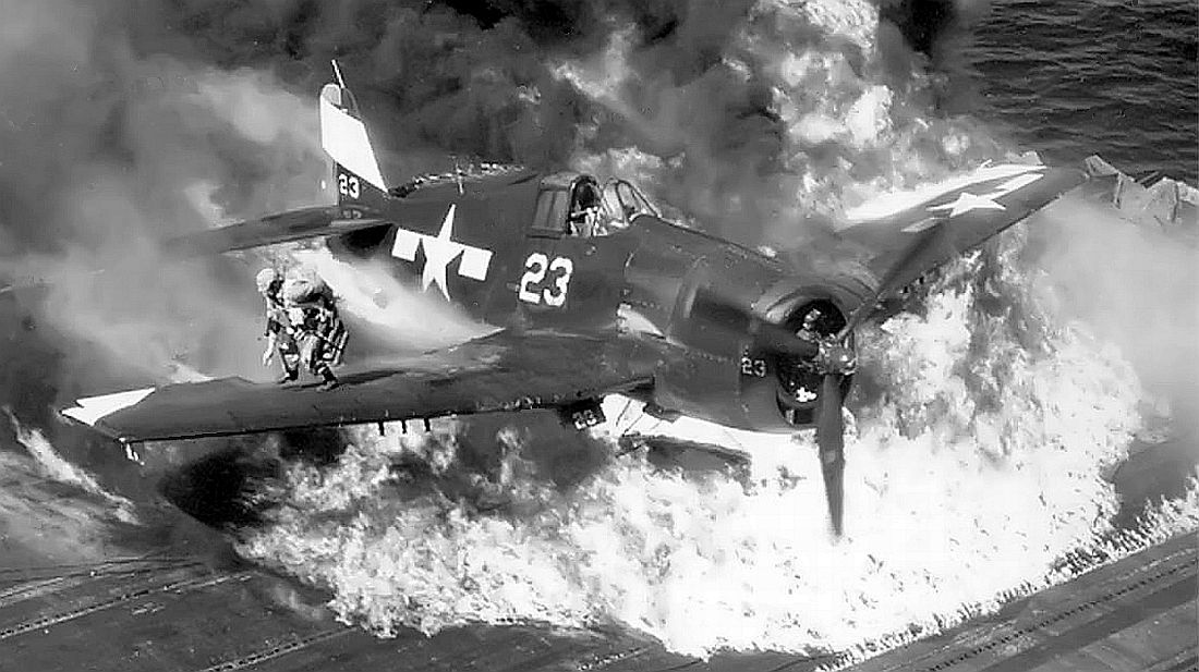 Grumman F6F 5 Hellcat VF 94 White 23 ruptured fuel tank CV 16 USS Lexington Jul 1945 01