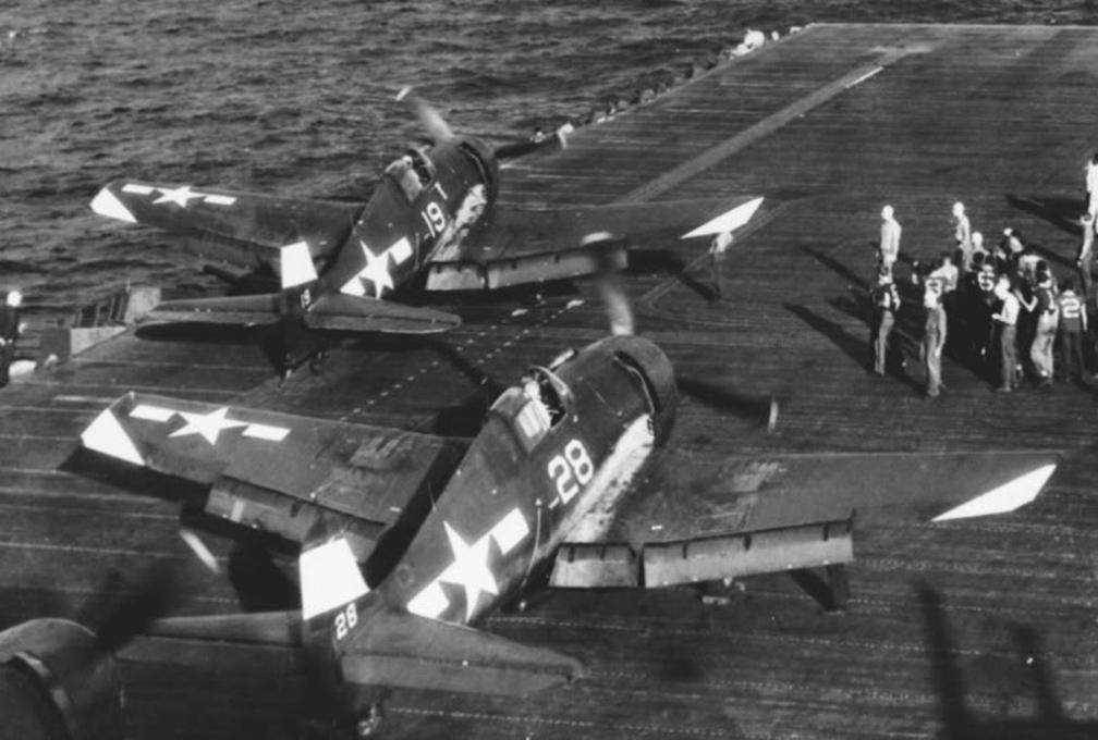 Grumman F6F 5 Hellcat VF 94 White 28 and 19 onboard CV 16 USS Lexington Jul 1945 01