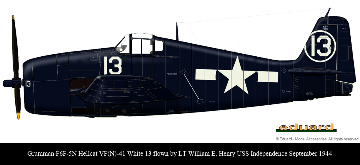 Grumman F6F 5N Hellcat VFN 41 White 13 LT William E Henry USS Independence Sep 1944 0A