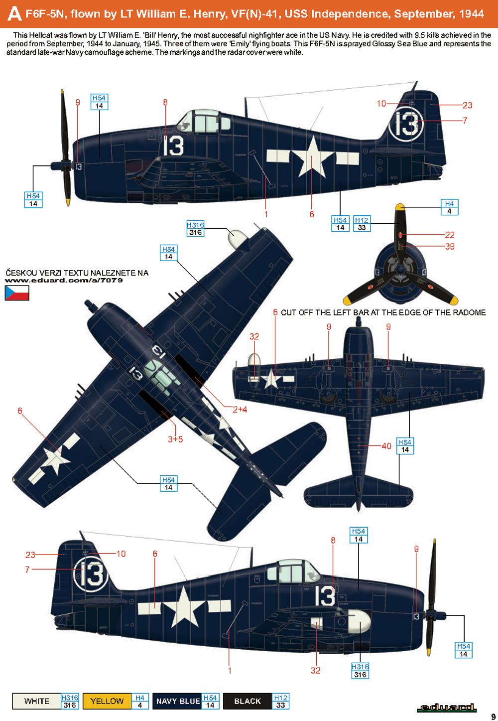 Grumman F6F 5N Hellcat VFN 41 White 13 LT William E. Henry USS Independence Sep 1944 0C