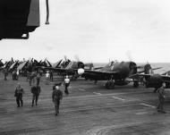 Asisbiz Grumman F6F 5N Hellcat VFN 41 White 11 and 6 about to be lauched from CVL 22 USS Independence 01