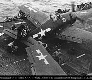 Asisbiz Grumman F6F 5N Hellcat VFN 41 White 13 about to be lauched from CVL 22 USS Independence 02